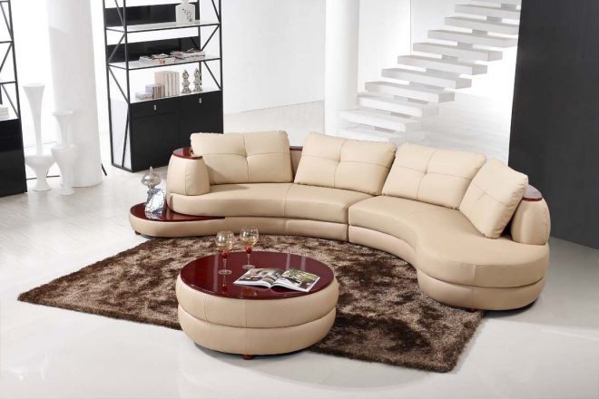contemporary beige leather sectional curved sofa with