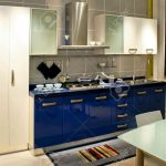 contemporary blue kitchen counter with all utensils
