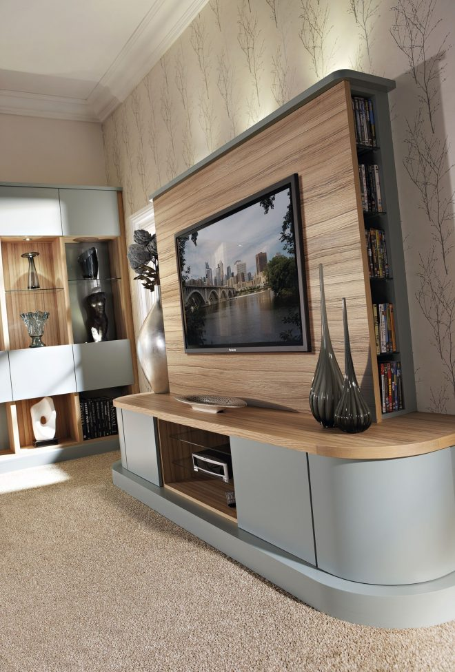 contemporary grey fitted lounge furniture with bespoke tv