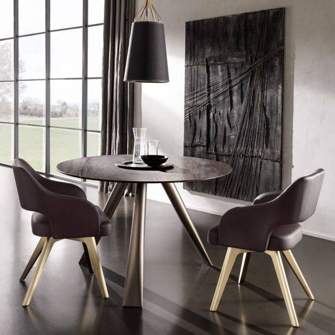 contemporary italian round small dining table and chairs set
