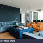 contemporary living room in london apartment stock photo