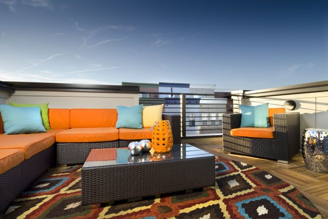 contemporary rooftop terrace with orange blue and yellow
