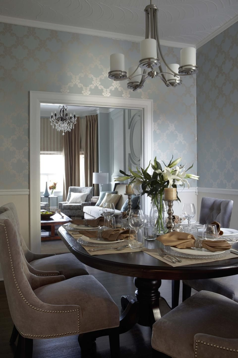 contemporary transitional french country dining room design photo