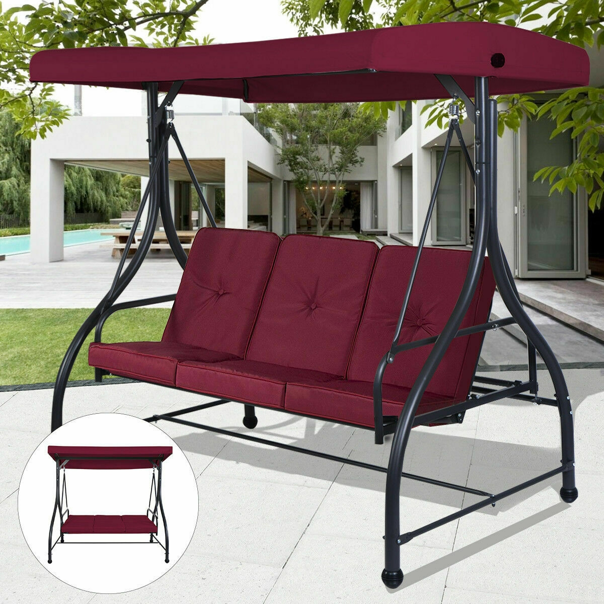 converting outdoor swing canopy hammock 3 seats patio deck furniture wine red