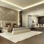 cool master bedroom design with lovely wallpaper and