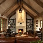 cool rustic living room with cathedral ceiling and iconic