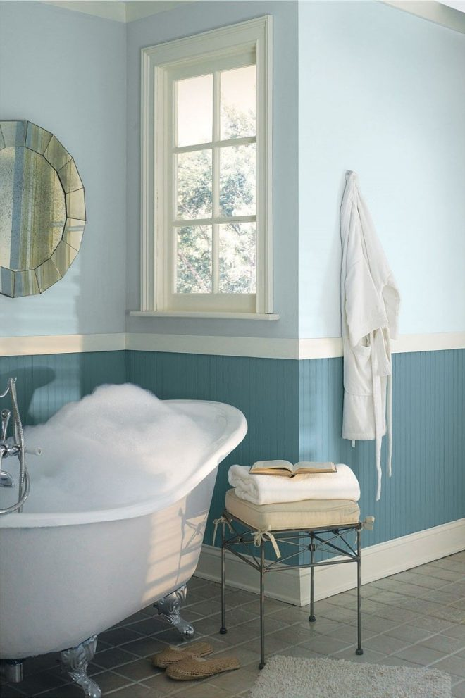 cool two tone blue bathroom colors idea combined with white