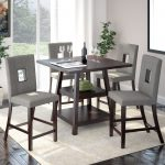 corliving bistro 5pc 36 counter height rich cappuccino dining set pewter grey