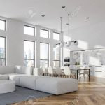 corner of living room in modern studio apartment with white walls