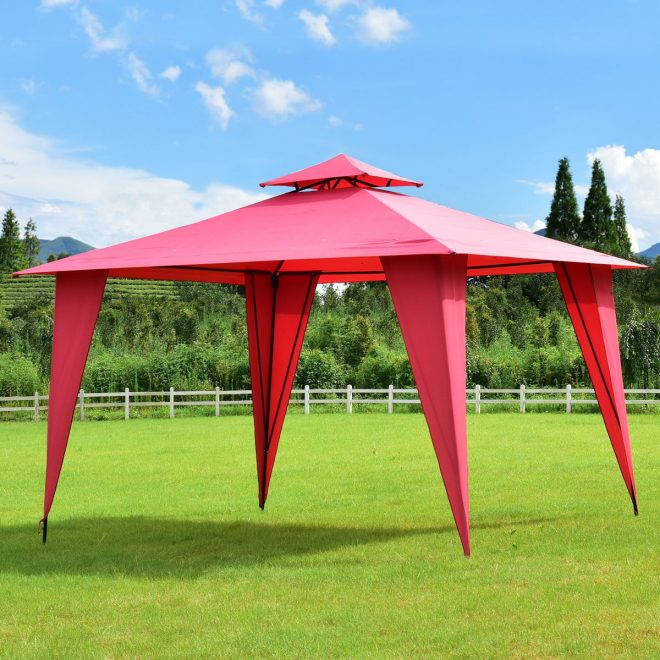 costway 11x11 2 tier gazebo canopy shelter patio party tent burgundy