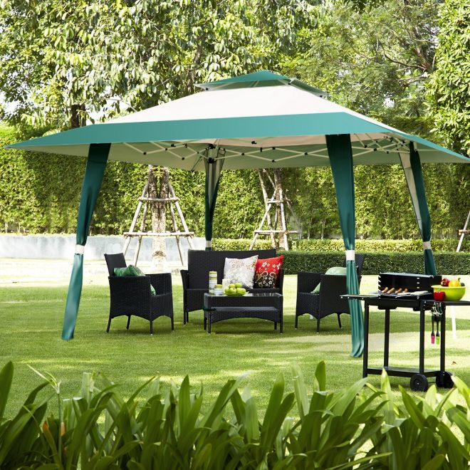 costway 13x13 folding gazebo canopy shelter awning tent patio garden green