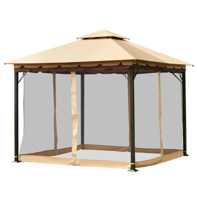 costway 2 tier 10 ft x 10 ft beige top brown eaves black mesh gazebo canopy tent shelter awning steel outdoor garden patio