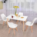 costway 5 piece mid century dining set rectangular table and 4 chairs modern white