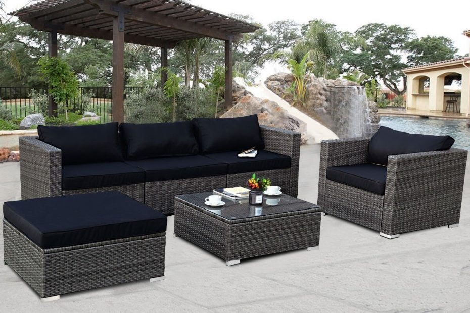 costway 6 piece rattan wicker patio furniture set sectional sofa couch yard wblack cushion