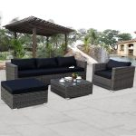 costway 6 piece rattan wicker patio furniture set sectional sofa couch yard with black cushion walmart