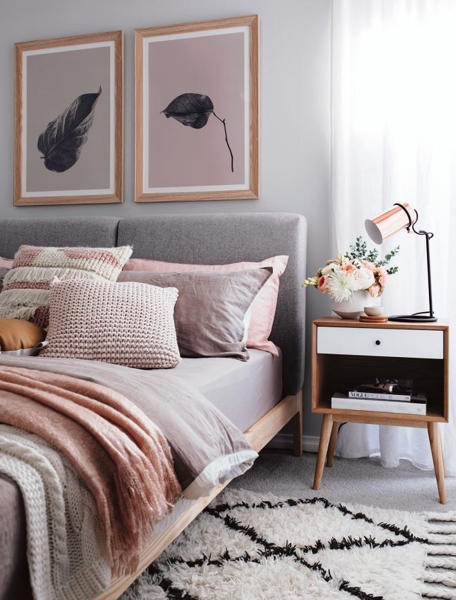cosy bedroom in peach and grey bedroom styles home