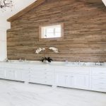 cottage bathroom with plank accent wall ideas