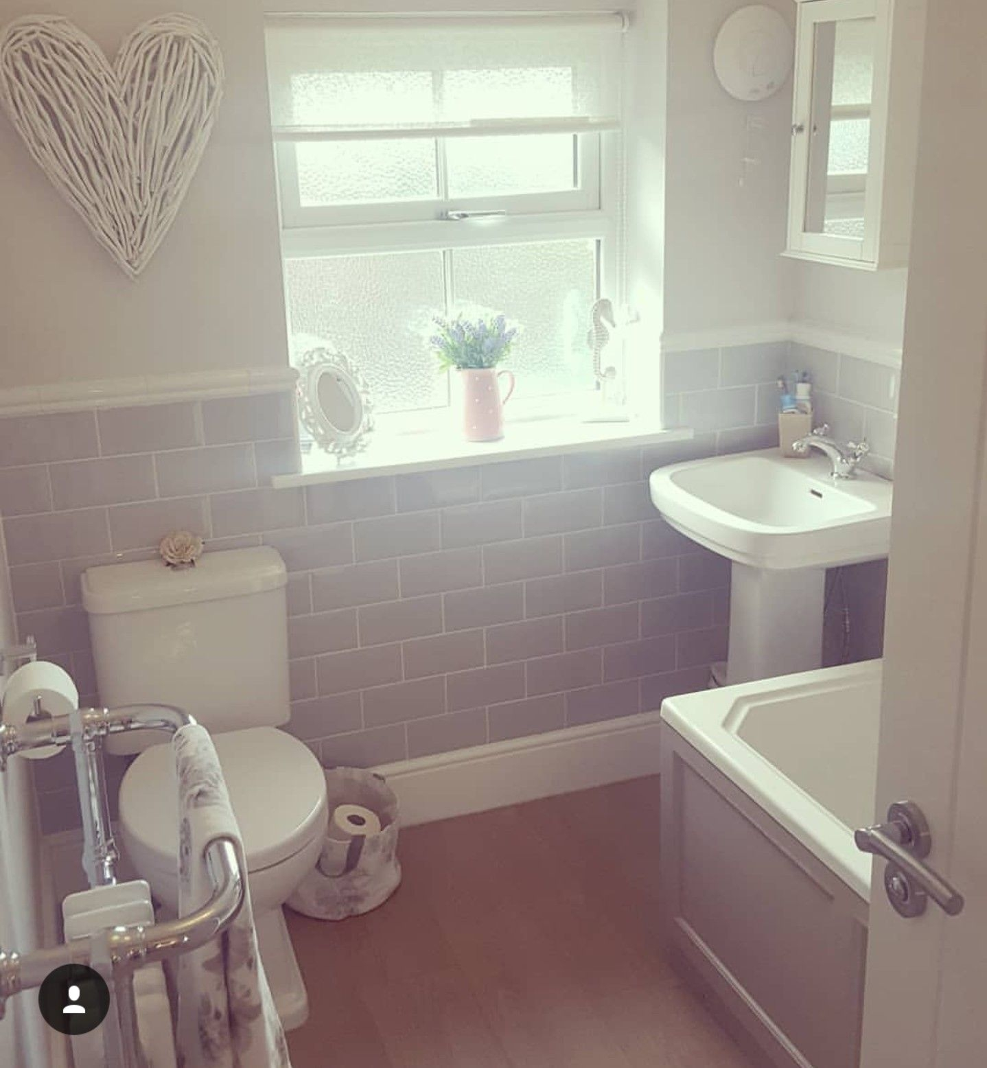 cottage bathroom with traditional suite and radiator grey metro