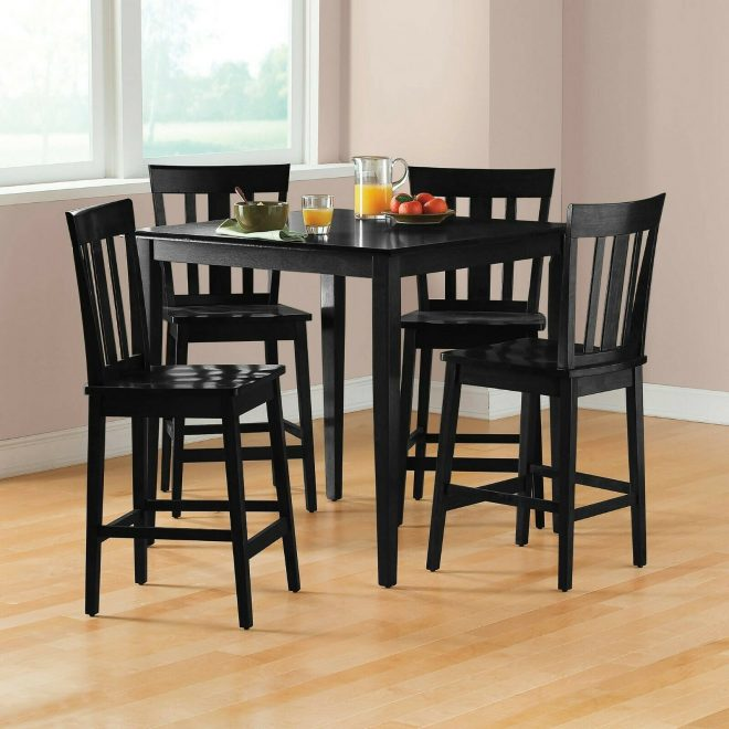 counter height dining set table chair sets 5 piece kitchen pub breakfast black