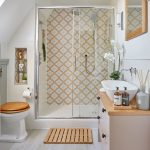 country bathroom makeover with yellow moorish tiles and pale