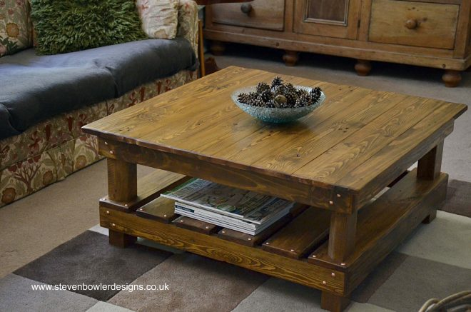 country cottage reclaimed wood coffee table medium oak stain undershelf storage steven bowler reclai