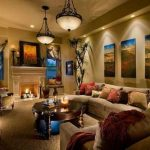 cozy family room ideas with beige color elegant pendant lamps for