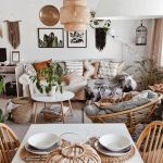cozy living room with white interior and bohemian style is