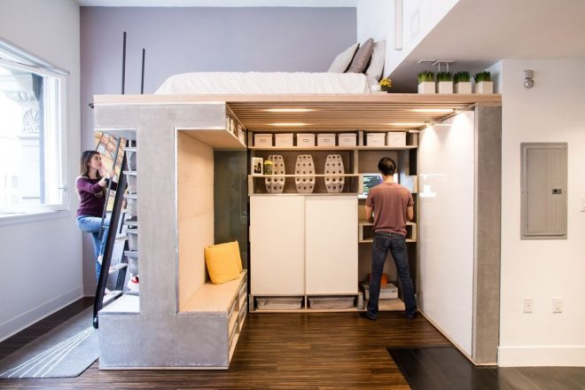 creative and functional loft system for small condo small