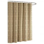 creative home ideas allure printed cotton blend 72 in w x 72 in l soft fabric shower curtain taupe
