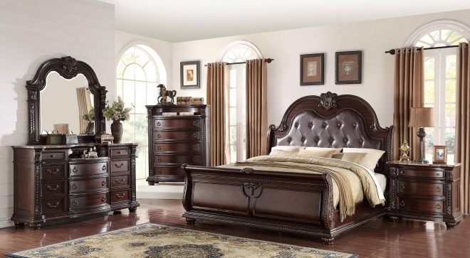 crown mark b1600 stanley cherry finish solid wood king