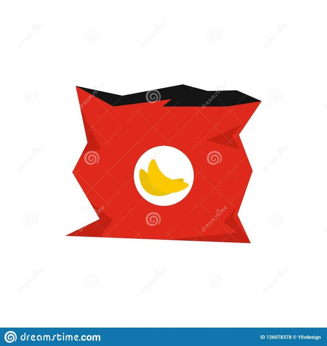 crumpled bag of chips icon flat style stock illustration