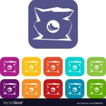 crumpled bag of chips icons set