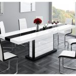 cruz high gloss black white dining table extends twice 160 256cm
