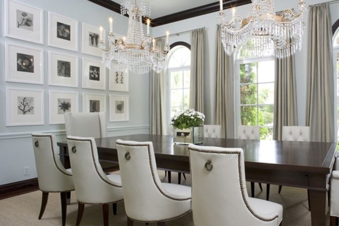 crystal chandelier with candles for rectangular dining room