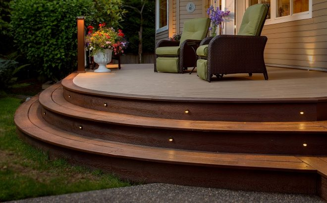 curved decks xmt low framing patio gardens deck railing steps