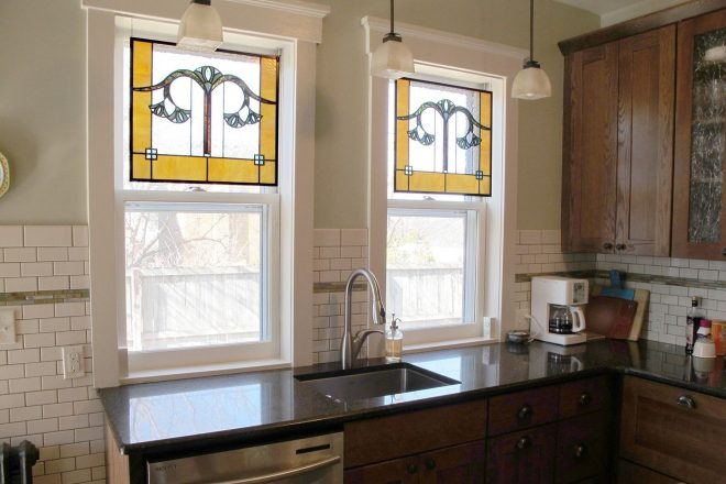 custom gingko leaf stained glass kitchen windows painted