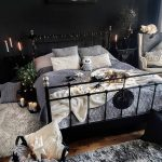 dark bedroom with boho and rustic style aesthetic bedroom