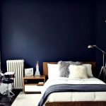 dark blue feature wall for a dramatic bedroom bedroom