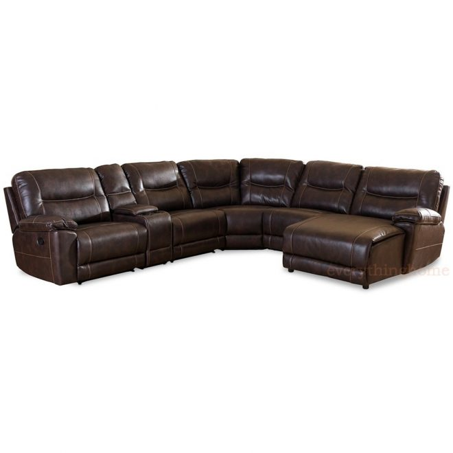 dark brown bonded leather 6 piece theater sectional sofa recliner corner lounge