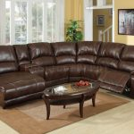 dark brown leather sectional sofa with recliner and coffee