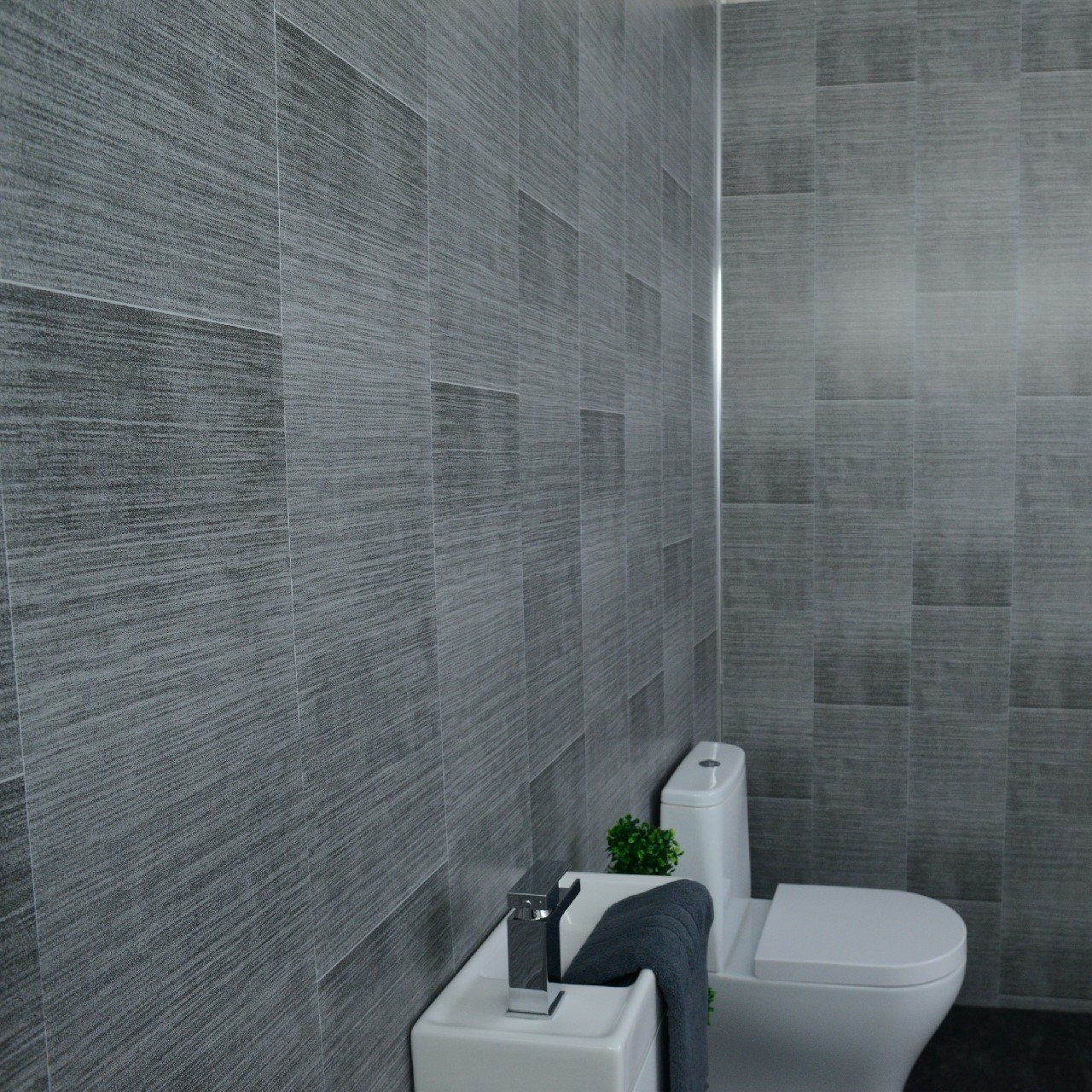 dark grey bathroom wall panels large tile effect small tile
