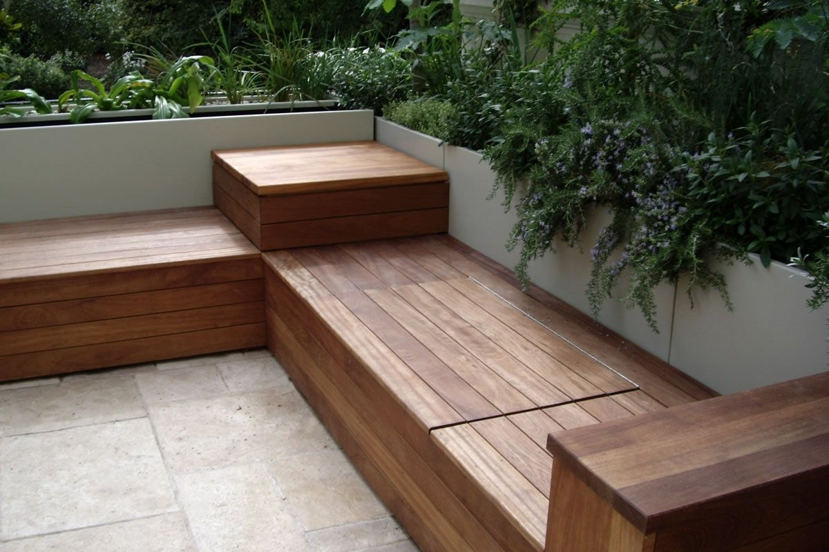 deck bench with storage garden and patio garden seating patio