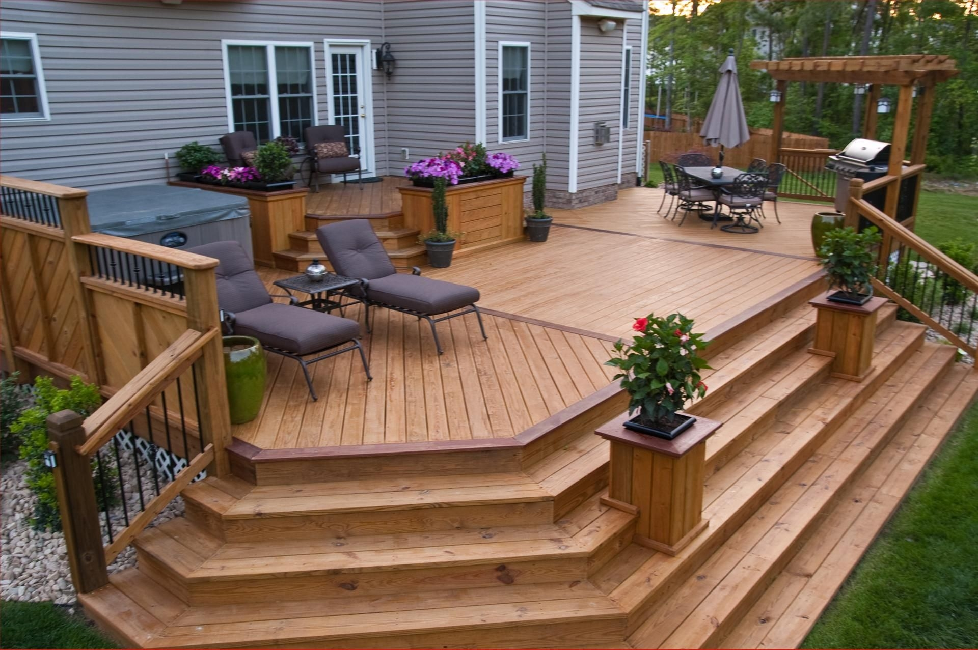 deck with planters wide steps cascading down home sweet home in