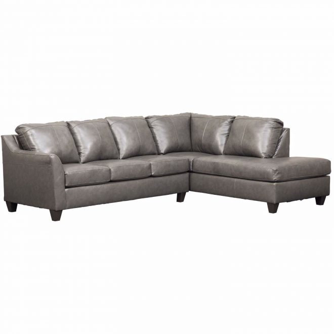 declan 2 piece fog leather sectional wraf chaise