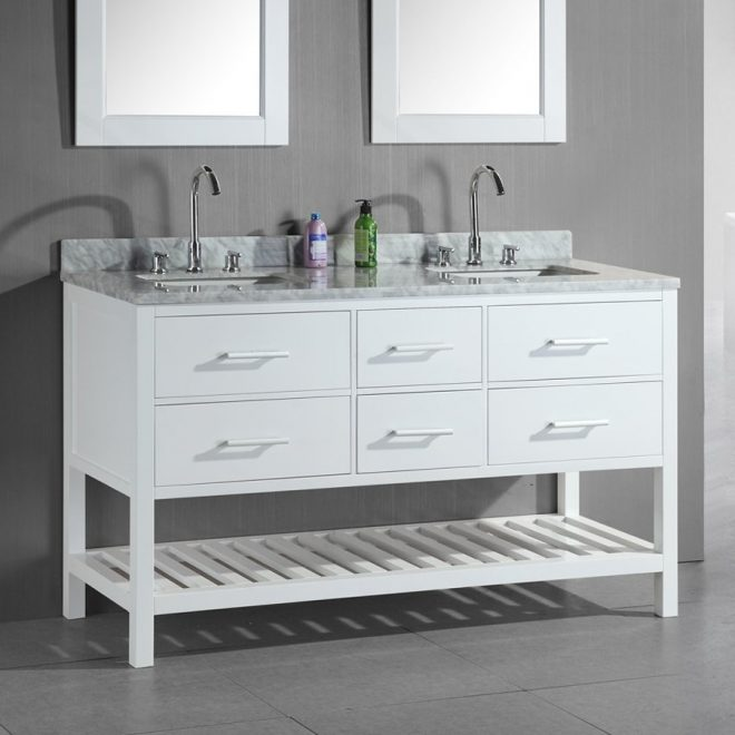 design element london white double sink vanity with white natural