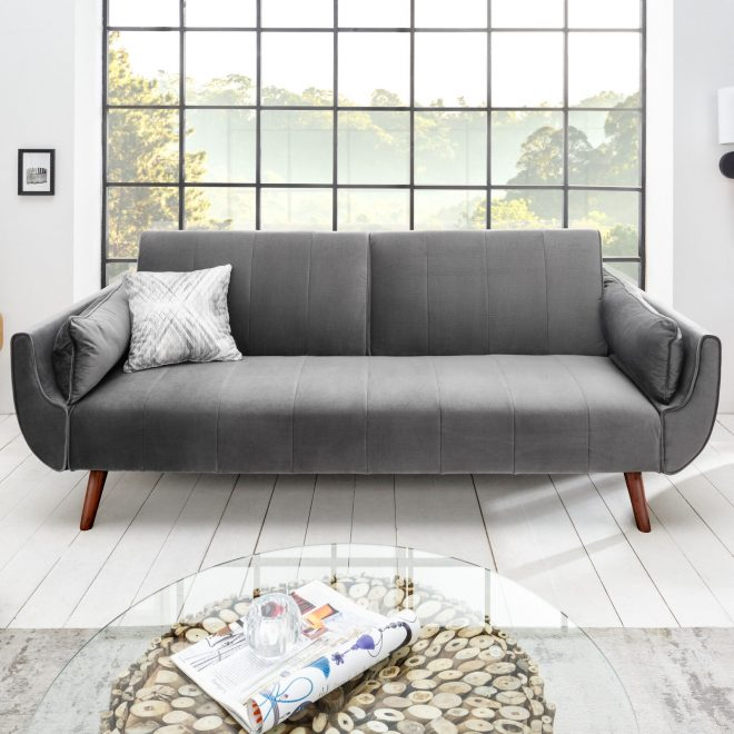 design schlafsofa divani 215cm silbergrau samt bettfunktion retro design couch