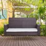 details about 2 person outdoor wicker porch swing chair garden hanging bench seat