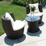 details about 3 pc patio outdoor rattan set wicker furniture glass table brown round chairs