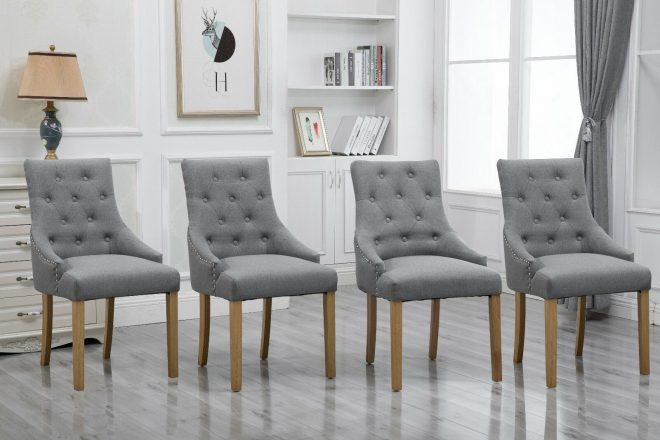 details about 4pcs accent dining chairs armchairs fabric upholstered dining room kitchen grey