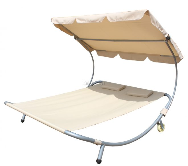 details about birchtree garden outdoor patio double sun lounger day bed hammock canopy beige